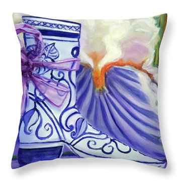 Blue Shoe, Painting Of A Painting Throw Pillow