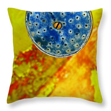 Throw Pillow featuring the photograph Blue Shower Head by Skip Hunt