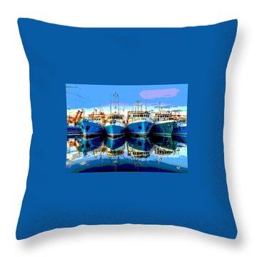 Blue Shrimp Boats Throw Pillow by Charles Shoup