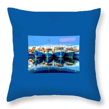 Blue Shrimp Boats Throw Pillow