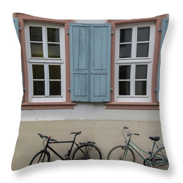 Blue Shutters And Bicycles Throw Pillow