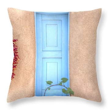 Blue Shutters And Chili Peppers Throw Pillow