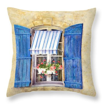 Throw Pillow featuring the painting Blue Shutters by Bonnie Rinier
