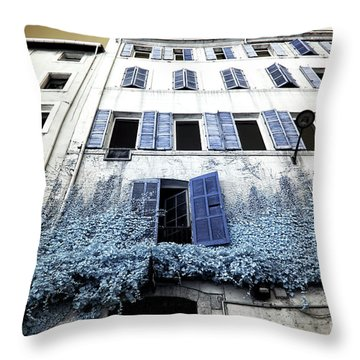 Blue Shutters In Marseille Throw Pillow