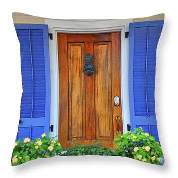 Throw Pillow featuring the photograph Blue Shutters by Jost Houk