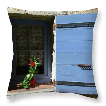 Throw Pillow featuring the photograph Blue Shutters by Rasma Bertz