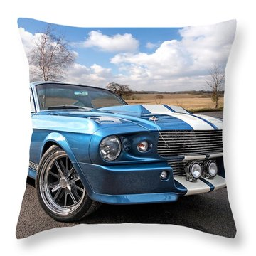 Blue Skies Cruising - 1967 Eleanor Mustang Throw Pillow