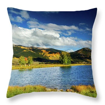 Throw Pillow featuring the photograph Blue Skies Over Crested Butte by John De Bord