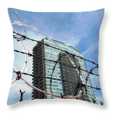 Blue Sky And Barbed Wire Throw Pillow