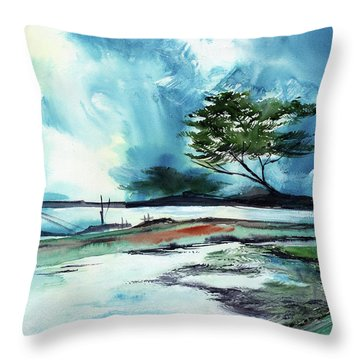 Throw Pillow featuring the painting Blue Sky by Anil Nene