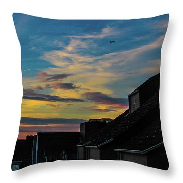 Blue Sky Colorful Sunset Throw Pillow by Cesar Vieira