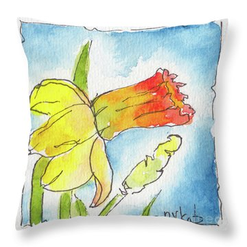 Throw Pillow featuring the painting Blue Sky Daffodils by Pat Katz