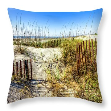 Throw Pillow featuring the photograph Blue Sky Dunes by Debra and Dave Vanderlaan