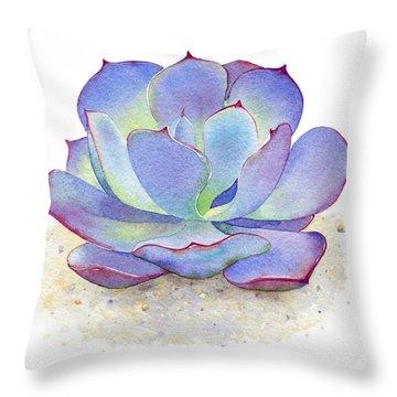Blue Sky Succulent Throw Pillow