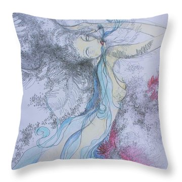 Throw Pillow featuring the drawing Blue Smoke And Mirrors by Marat Essex