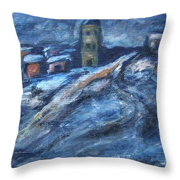 Blue Snow City Throw Pillow