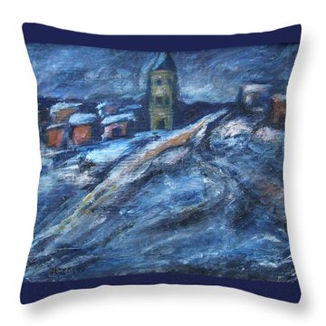 Blue Snow City Throw Pillow