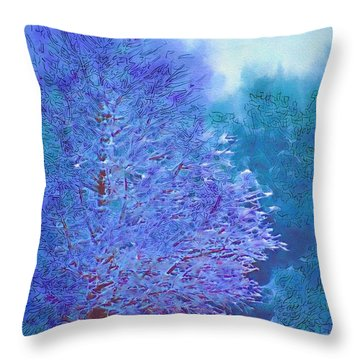 Blue Snow Scene Throw Pillow