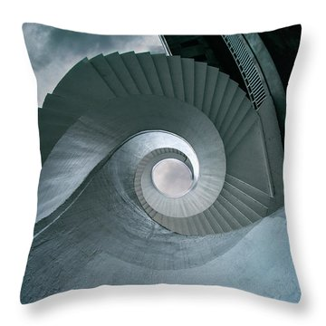 Throw Pillow featuring the photograph Blue Spiral Stairs by Jaroslaw Blaminsky