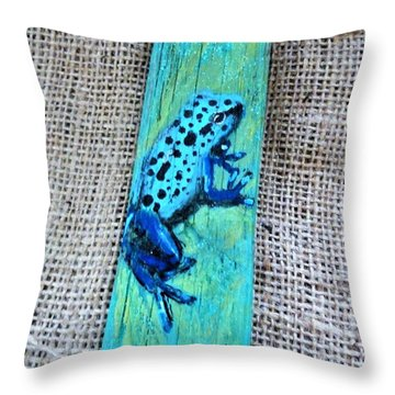 Blue-spotted Tree Frog Throw Pillow by Ann Michelle Swadener