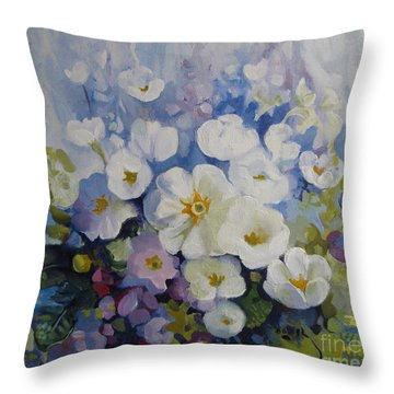 Throw Pillow featuring the painting Blue Spring by Elena Oleniuc