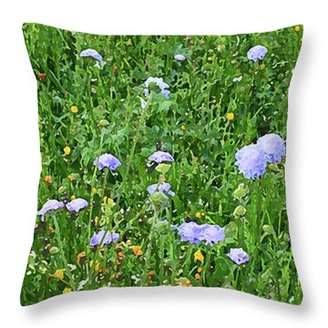 Blue Spring Flowers In Field Throw Pillow