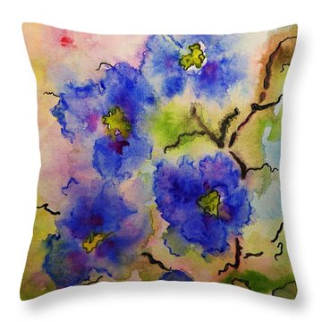 Blue Spring Flowers Watercolor Throw Pillow by AmaS Art