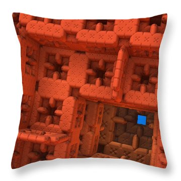 Blue Square Throw Pillow