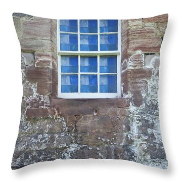 Throw Pillow featuring the photograph Blue Squares In The Castle Window by Christi Kraft