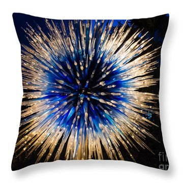 Blue Star At Night Throw Pillow