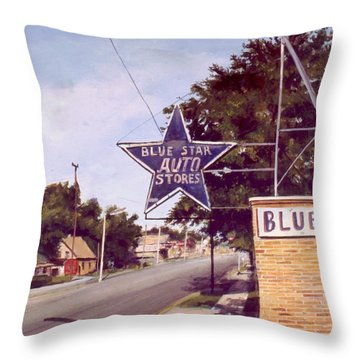Blue Star Auto Throw Pillow