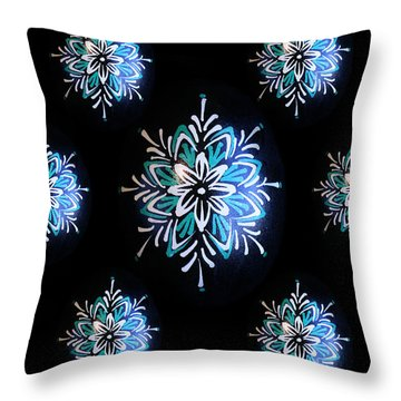 Blue Star Pysanky Throw Pillow by E B Schmidt