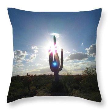 Blue Star Saguaro Throw Pillow