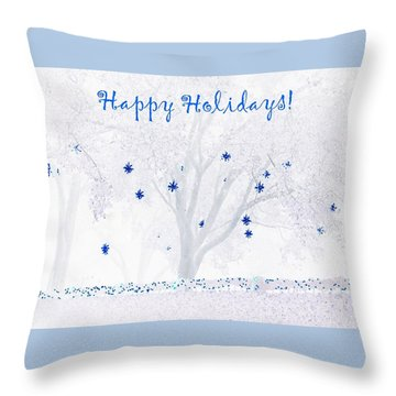 Throw Pillow featuring the photograph Blue Star Tree by Ellen O'Reilly