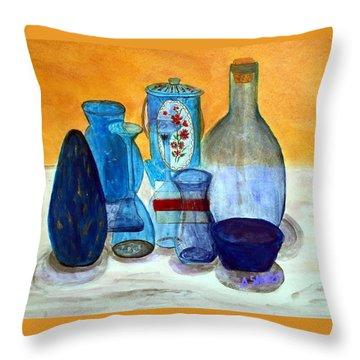 Blue Still Life Throw Pillow