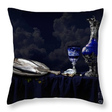 Still Life In Blue Throw Pillow