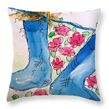 Blue Stockings Throw Pillow