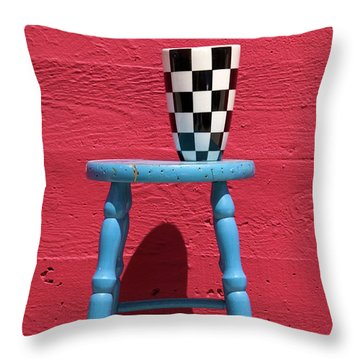 Blue Stool Throw Pillow by Garry Gay