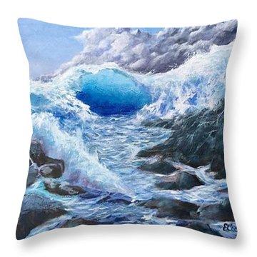 Blue Storm Throw Pillow