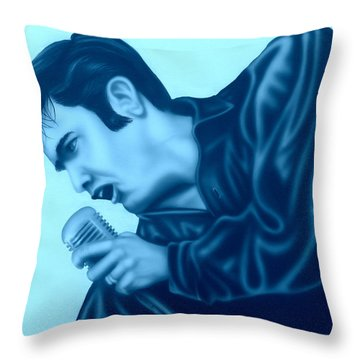 Blue Suede Shoes Throw Pillow by Darren Robinson