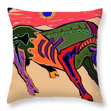 Blue Sun And Bull Throw Pillow
