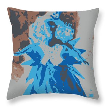 Blue Sunflower Barbie Throw Pillow
