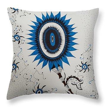 Blue Sunflower Throw Pillow