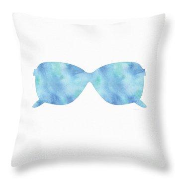 Blue Sunglasses 2- Art By Linda Woods Throw Pillow