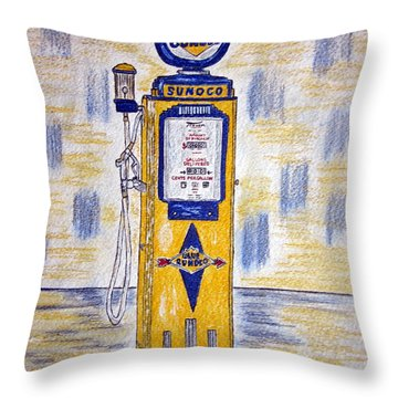 Throw Pillow featuring the painting Blue Sunoco Gas Pump by Kathy Marrs Chandler