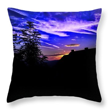 Throw Pillow featuring the photograph Blue Sunset In Poland by Mariola Bitner
