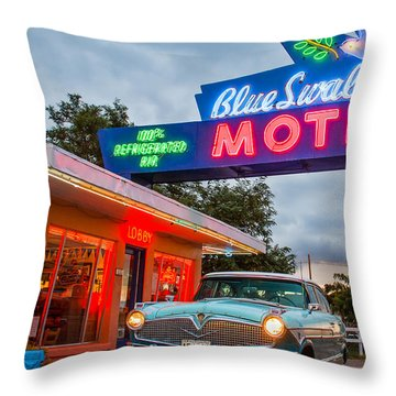 Blue Swallow Motel On Route 66 Throw Pillow