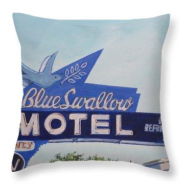 Blue Swallow Throw Pillow