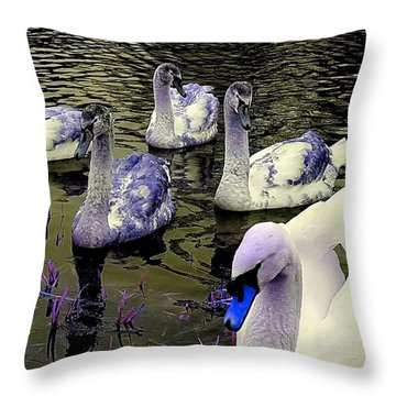 Blue Swan Throw Pillow