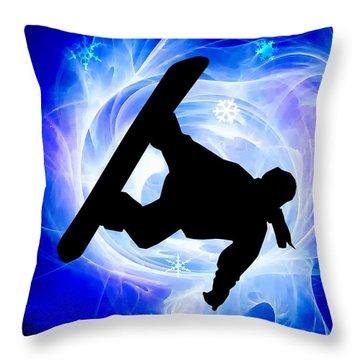Blue Swirl Snowstorm Throw Pillow by Elaine Plesser